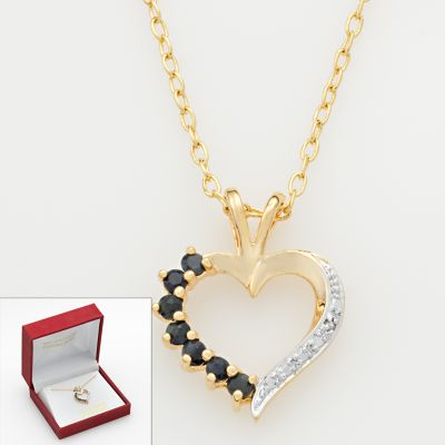 Sapphire and Diamond Accent Heart Pendant