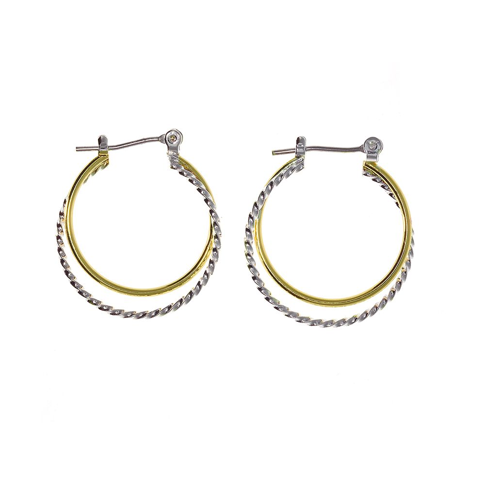SONOMA Goods for Life® Two Tone Plain/Twist Hoop Earrings