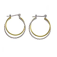 Two Tone Plain/Twist Hoop Earrings