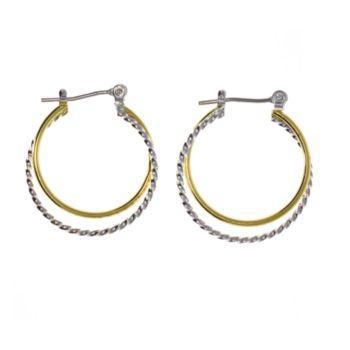 Two Tone Plain/Twist Hoop Earrings