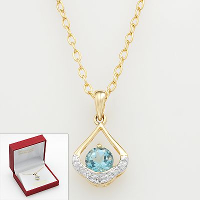 Blue Topaz and Diamond Accent Teardrop Pendant