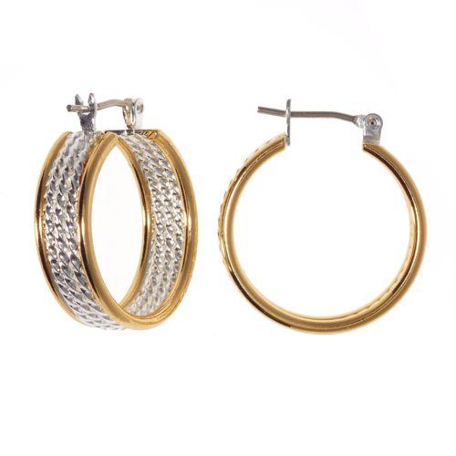 Croft & Barrow® Two Tone Twist Rope Hoop Earrings