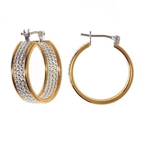 Two Tone Twist Rope Hoop Earrings