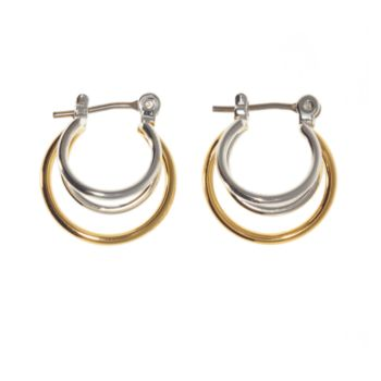 Two Tone Triple Hoop Earrings