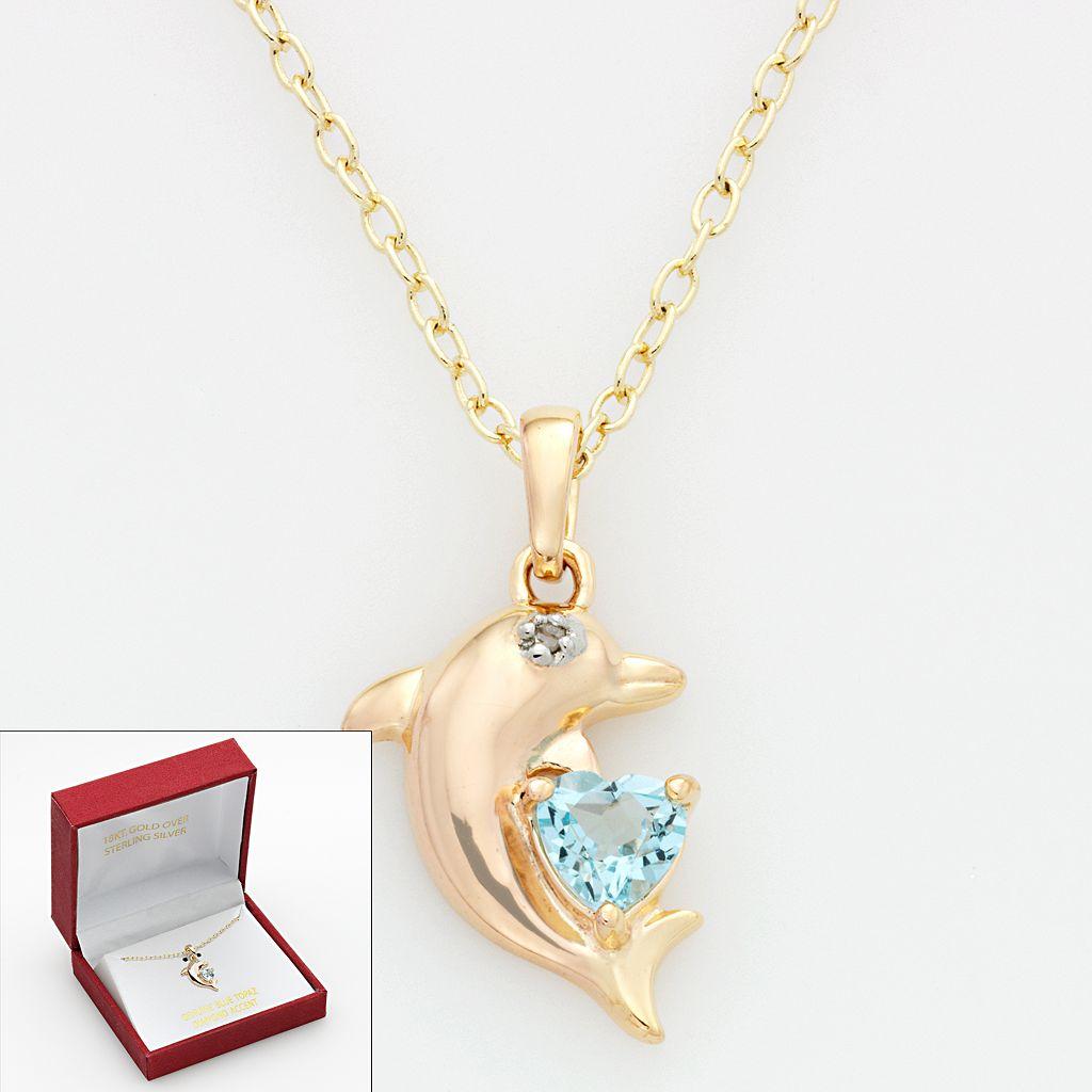 Blue Topaz & Diamond Accent Dolphin Pendant