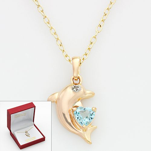 Blue Topaz & Diamond Accent Dolphin Pendant