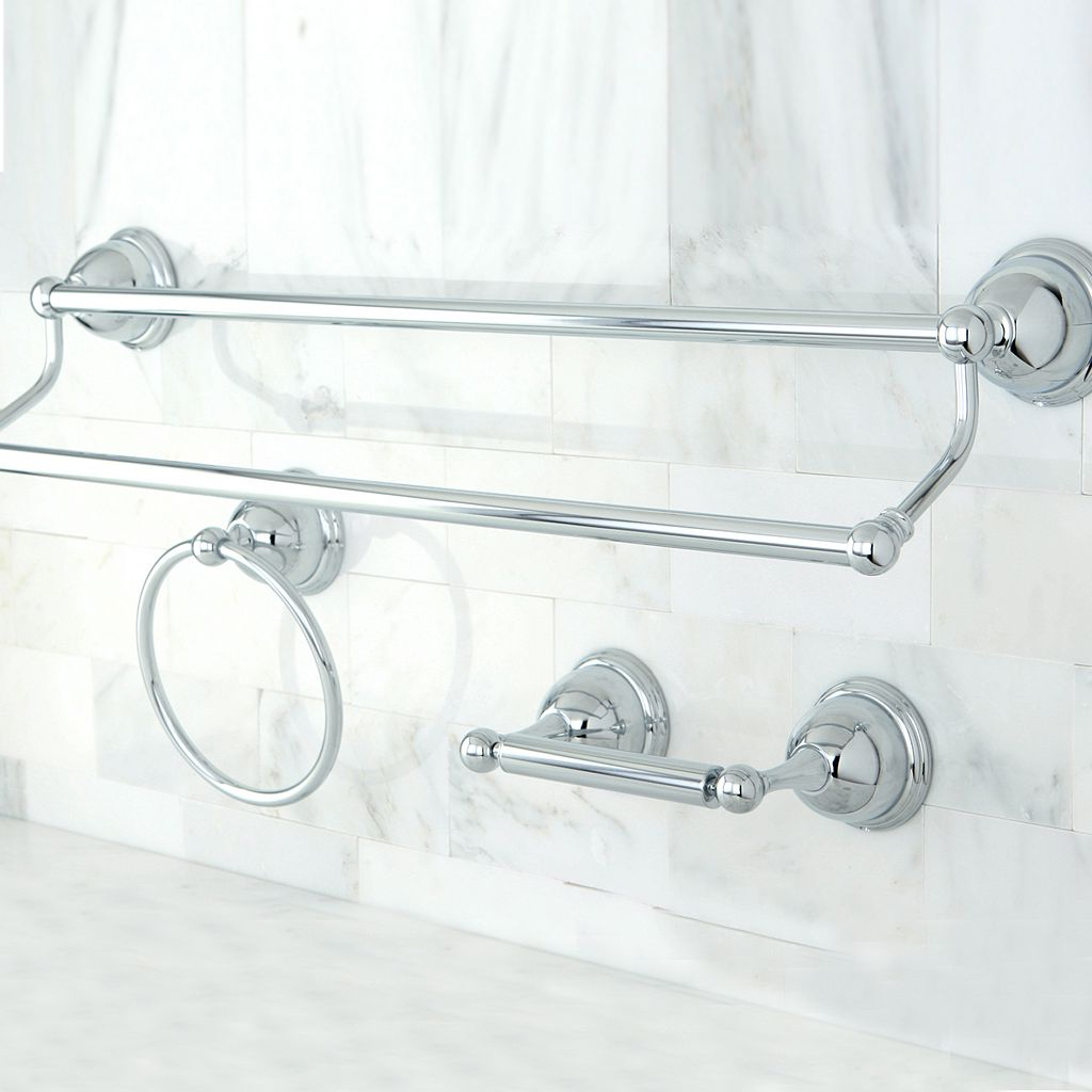 Kingston Brass 3-pc. Chrome Finish Double Towel Bar Set