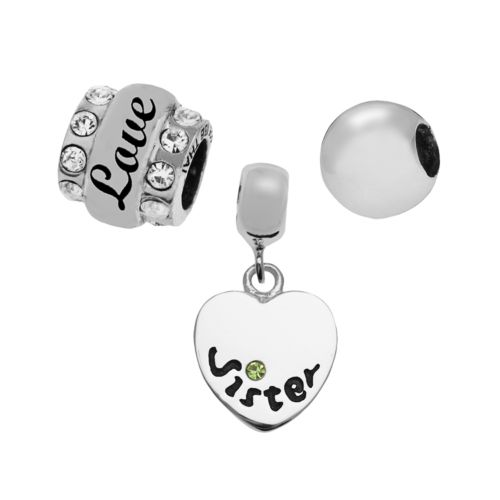 Individuality Beads Sterling Silver Sister Heart, Crystal and Spacer Bead Set