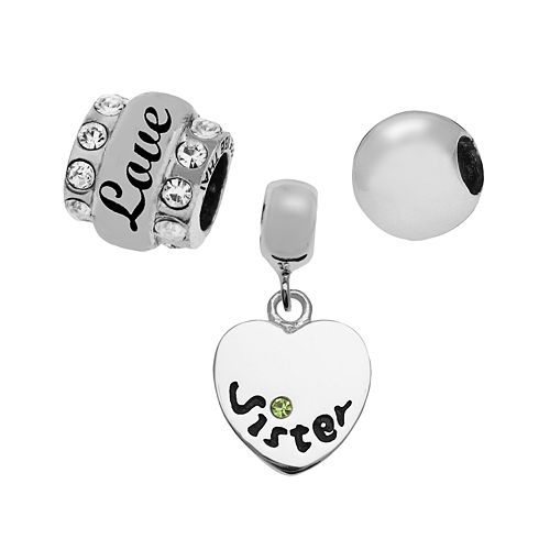 "Individuality Beads Sterling Silver ""Sister"" Heart, Crystal & Spacer Bead Set"