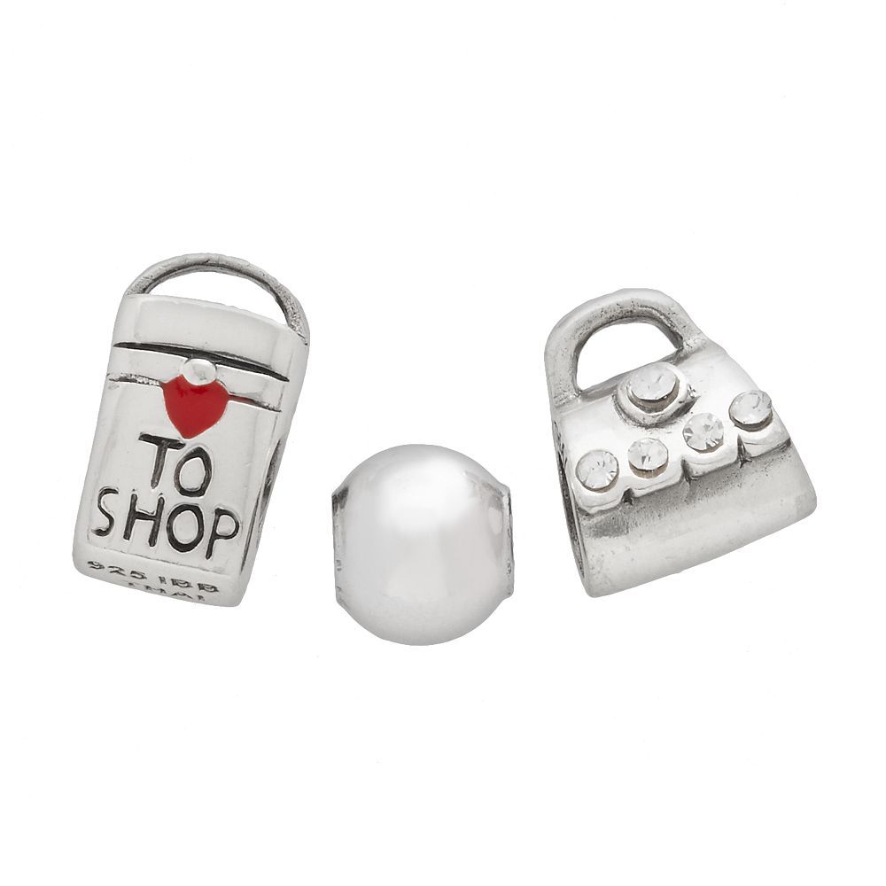 Individuality Beads Sterling Silver Crystal Purse, Bag & Spacer Bead Set