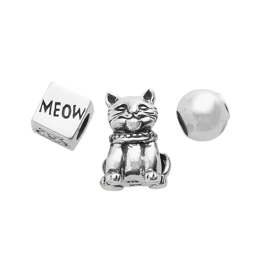 Individuality Beads Sterling Silver Cat, Cube & Spacer Bead Set