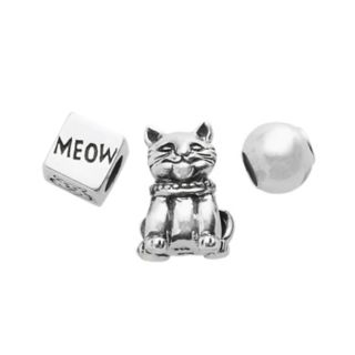 Individuality Beads Sterling Silver Cat, Cube and Spacer Bead Set