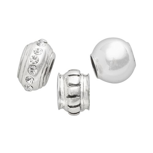 Individuality Beads Sterling Silver Crystal, Striped Stopper & Spacer Bead Set