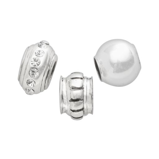Individuality Beads Sterling Silver Crystal, Striped Stopper and Spacer Bead Set