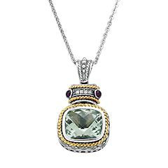 14k Gold Over Silver & Sterling Silver Green Quartz, Amethyst & Diamond Accent Frame Pendant