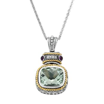 14k Gold Over Silver and Sterling Silver Green Quartz, Amethyst and Diamond Accent Frame Pendant