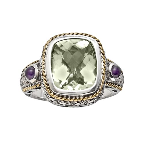14k Gold Over Silver and Sterling Silver Green Quartz and Diamond Accent Frame Ring