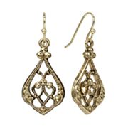 1928 Gold Tone Teardrop Earrings