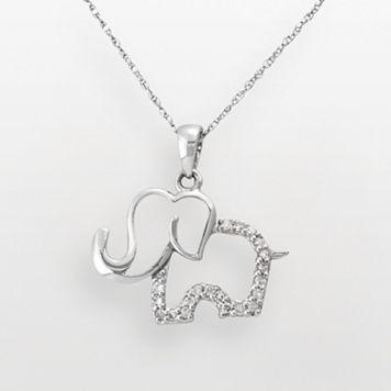 10k White Gold 1/10-ct. T.W. Diamond Elephant Pendant