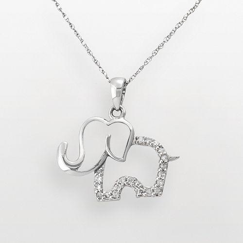 10k white gold 110 ct tw diamond elephant pendant aloadofball Choice Image