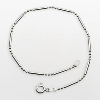 Sterling Silver '' 3 and 1'' 9-in. Chain Anklet