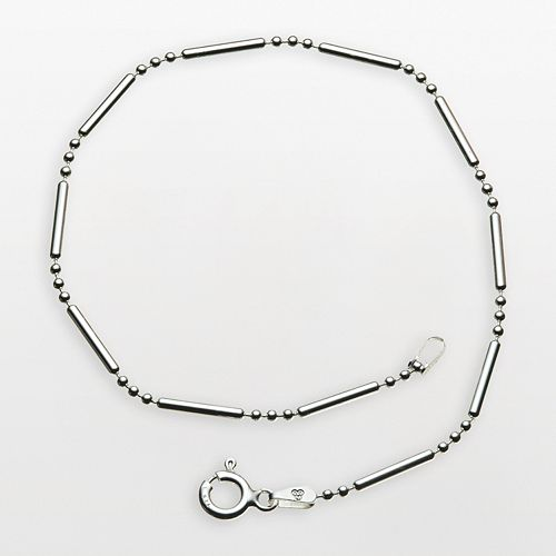 "Sterling Silver ""3 and 1"" 9-in. Chain Anklet"