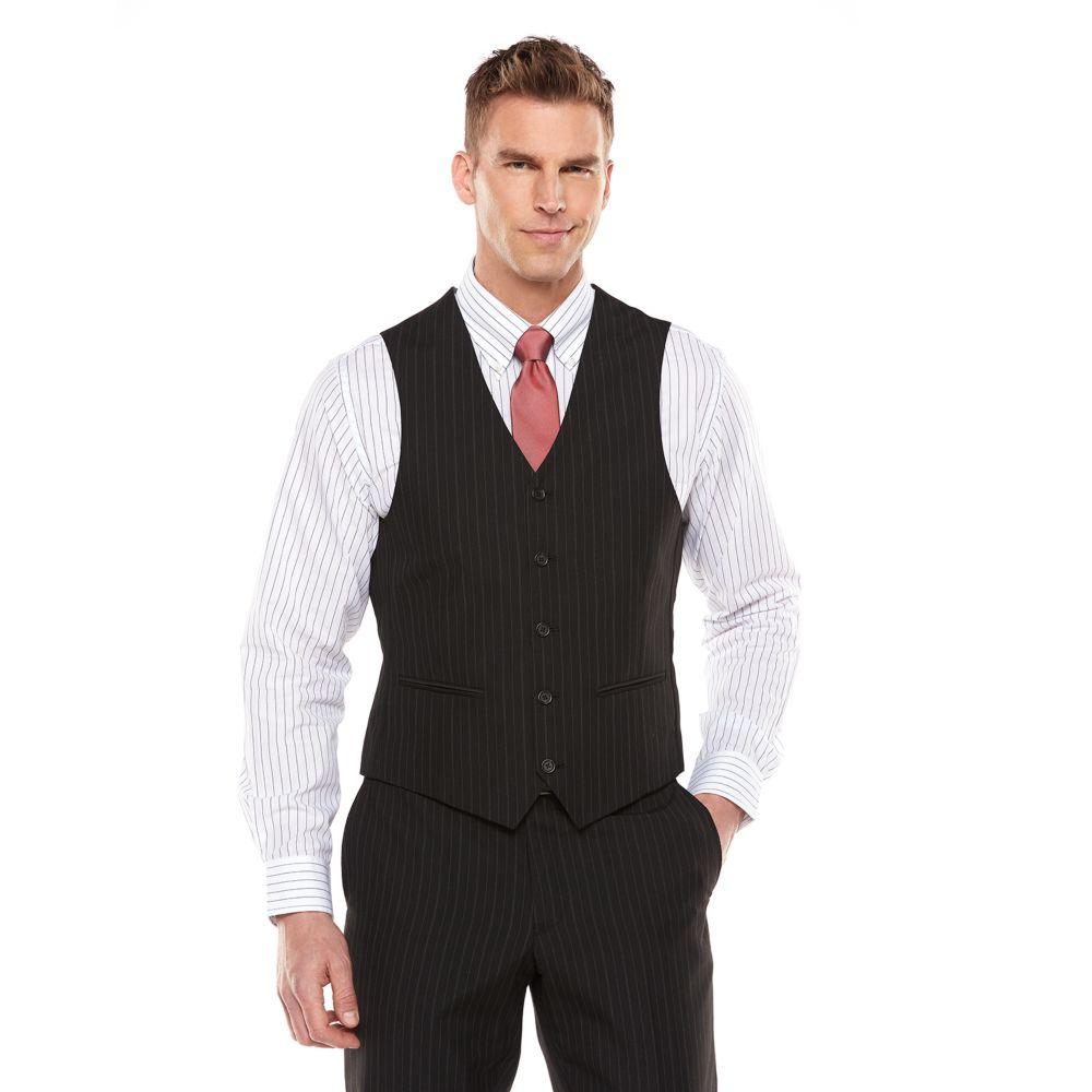 Mens Savile Row Striped Black Suit Vest