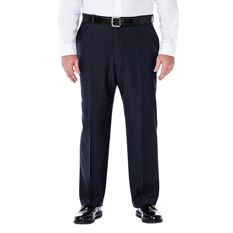 Big & Tall Haggar eCLo Stria No-Iron Classic-Fit Flat-Front Dress Pants, Men's, Size: 50X34, Blue