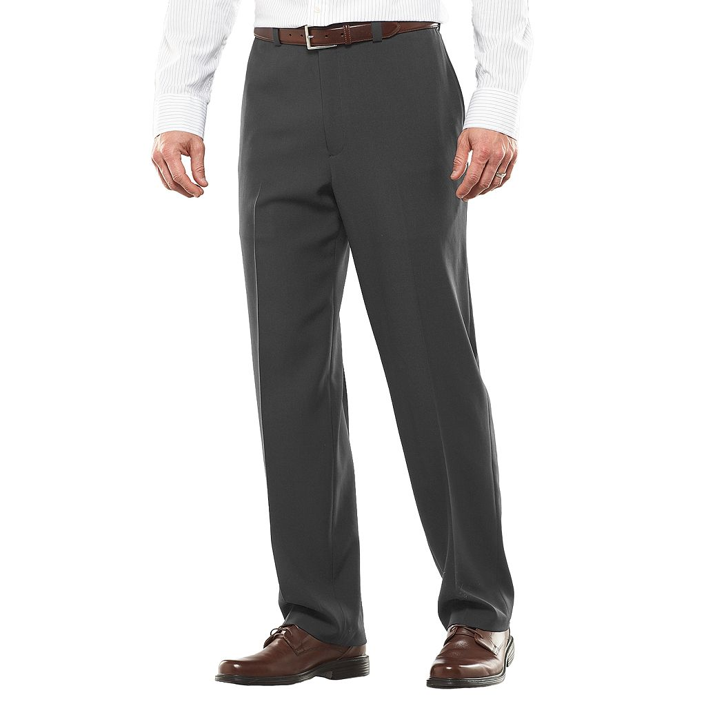 Big & Tall Haggar® eCLo™ Stria No-Iron Classic-Fit Flat-Front Dress Pants