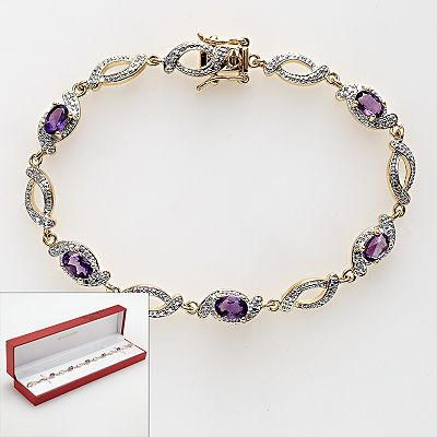18k Gold Plated African Amethyst and Diamond Accent Bracelet