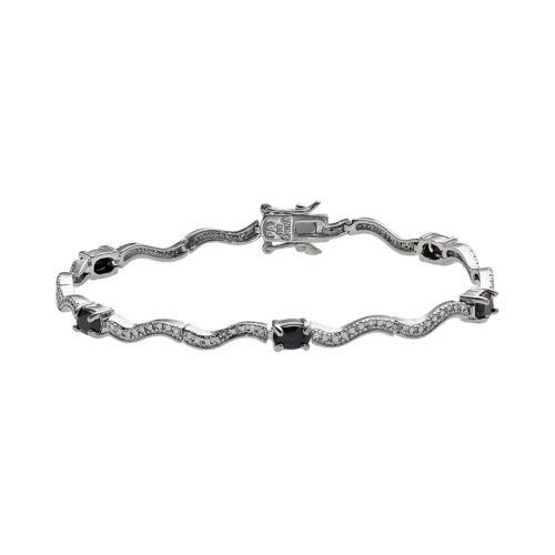 Platinum Plate Sapphire and Diamond Accent Bracelet