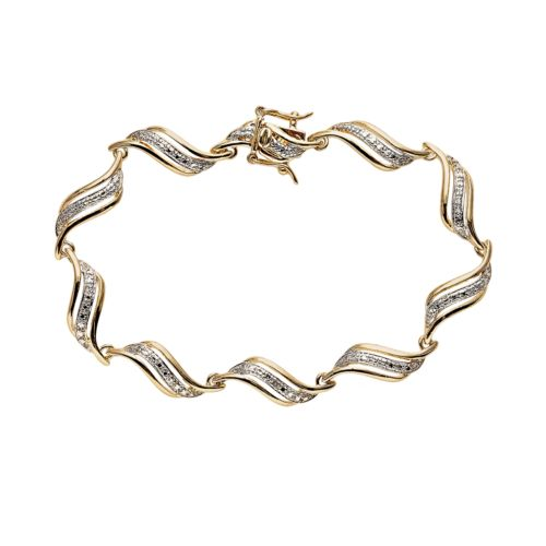 18k Gold Plated Diamond Accent Swirl Bracelet