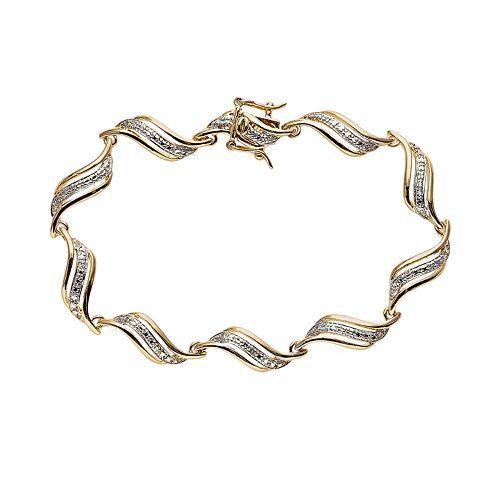18k Gold Plated Diamond Accent Swirl Bracelet
