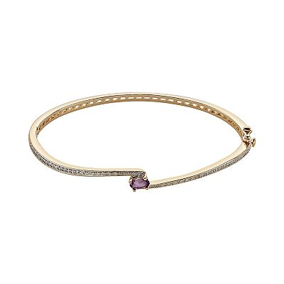 18k Gold Plated Two Tone African Amethyst and Diamond Accent Bypass Bangle Bracelet