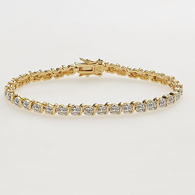 18k Gold Over Brass Diamond Accent Bracelet