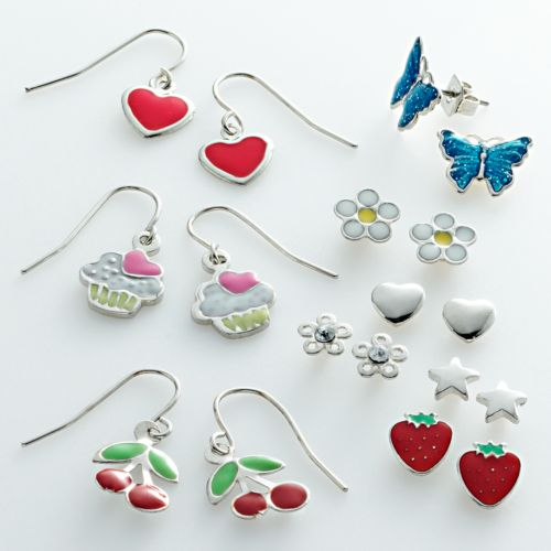 SO Silver Tone Heart, Star, Flower and Butterfly Stud Cupcake, Strawberry, Cherry and Heart Drop Earring Set