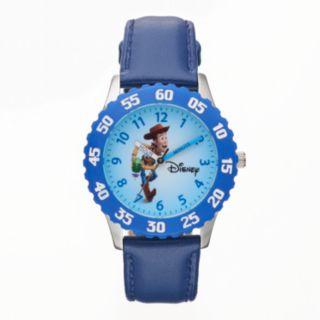 Disney / Pixar Toy Story Sheriff Woody Boy's Leather Time Teacher Watch