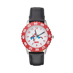 Marvel Spider-Man Boy's Leather Time Teacher Watch