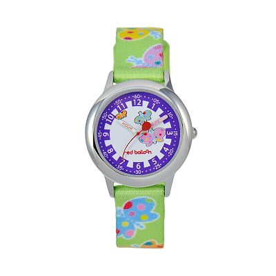Red Balloon Time Teacher Stainless Steel Butterfly Watch - Kids