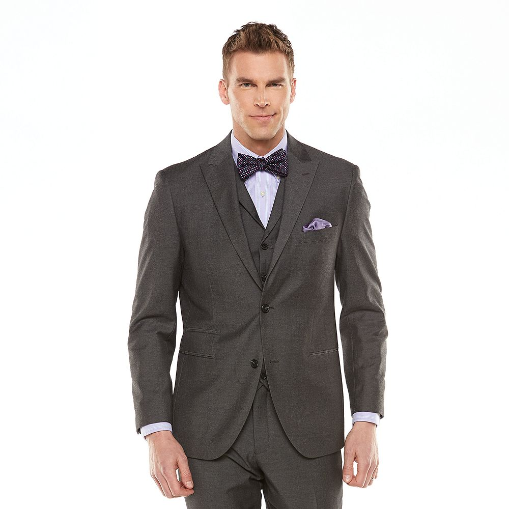 Men's Savile Row Modern-Fit Sharkskin Gray Suit Jacket