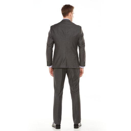 Men's Savile Row Modern-Fit Sharkskin Gray Suit Jacket