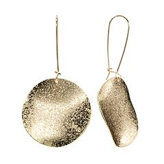 Gold Tone Textured Disc Drop Earrings