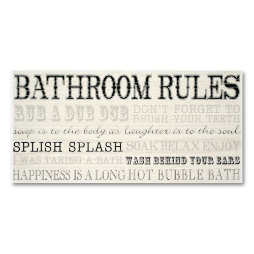 New View Bathroom Rules Wall Plaque