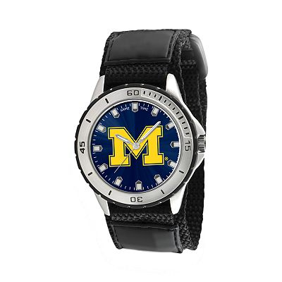 Game Time Veteran Series Michigan Wolverines Silver Tone Watch - COL-VET-MIC
