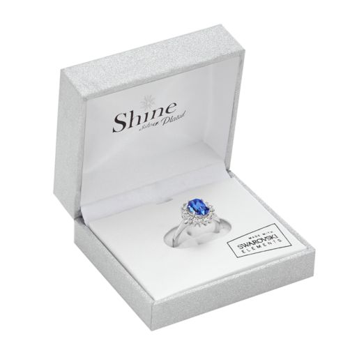 Sterling Silver Plated Crystal Frame Ring
