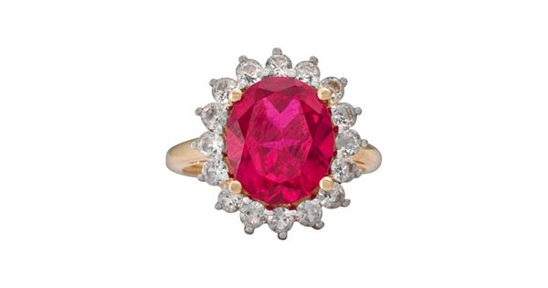 10k Gold Lab Created Ruby And Lab Created White Sapphire Ring