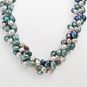 Sterling Silver Dyed Freshwater Cultured Pearl Convertible Necklace