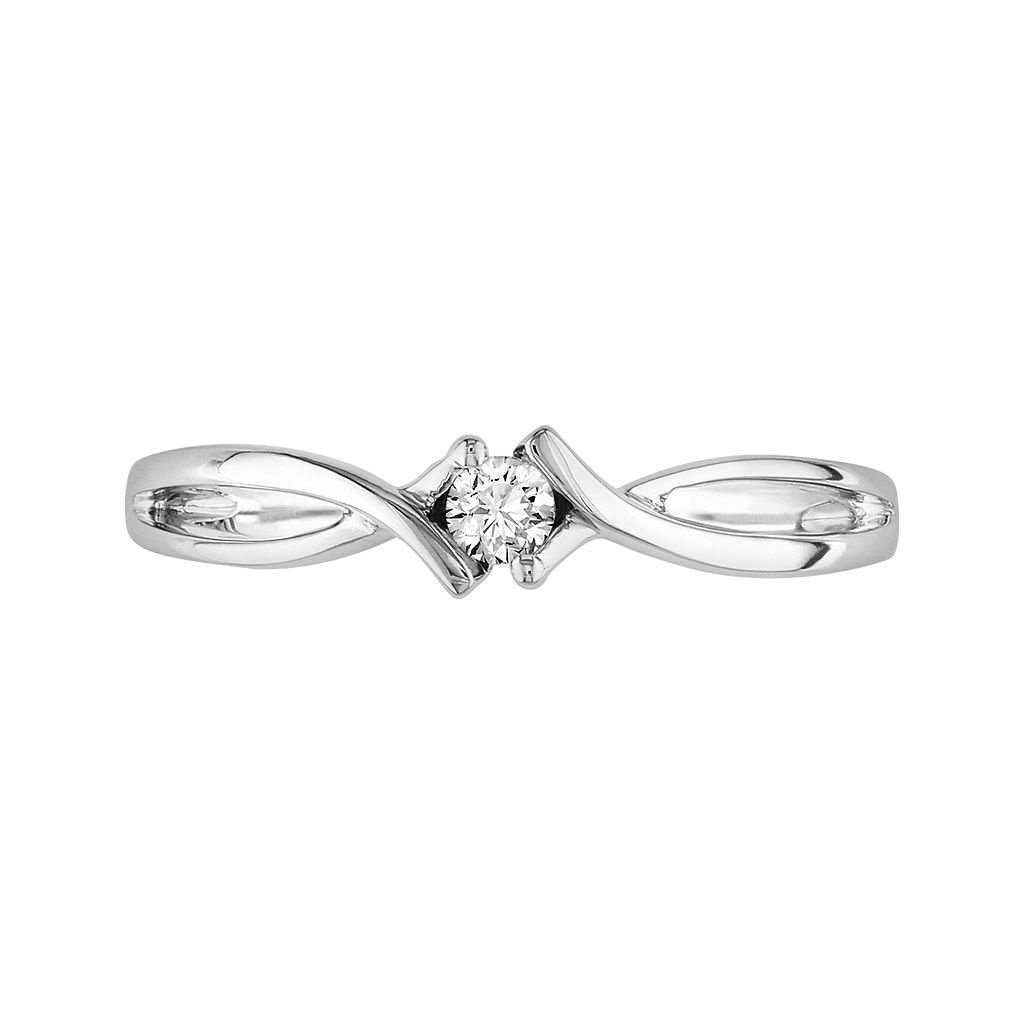 10k White Gold 1/10-ct. T.W. Diamond Bypass Ring