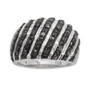 Sterling Silver 1-ct. T.W. Black and White Diamond Striped Dome Ring