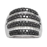 Sterling Silver 1-ct. T.W. Black and White Diamond Striped Ring